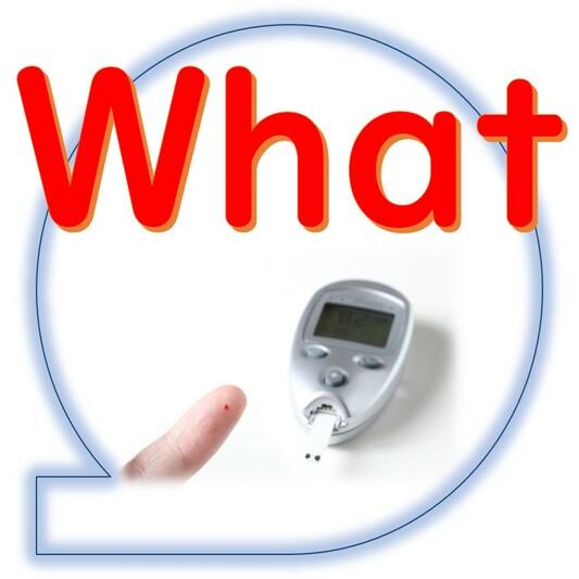 What、何を、血糖値測定器と指先